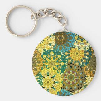 Orient mandala blue & yellow | Indian motif Basic Round Button Key Ring