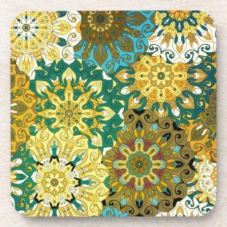 Orient mandala blue & yellow | Indian motif Coasters