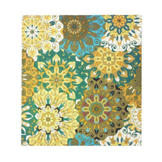 Orient mandala blue & yellow | Indian motif Notepad