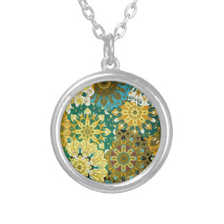 Orient mandala blue & yellow | Indian motif Silver Plated Necklace