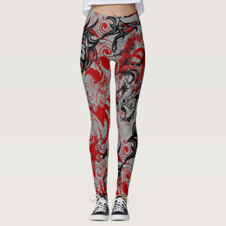 Oriental Accent Dragons Grungy Abstract Art Leggings