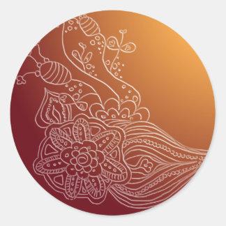 Oriental Arabic henna style sticker label