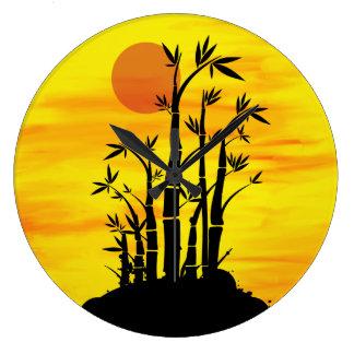 Oriental Bamboo Sunset Large Clock