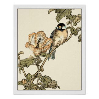 Oriental Bird Perched on Branch Poster