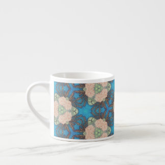 Oriental bloom pattern with ocean blue background espresso cup