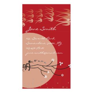 Oriental Bright Moon Swallows Birds Zen Modern Art Business Card