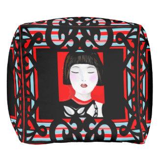 Oriental Charmer Pouf-Home -Red/White/Black/Blue Pouf