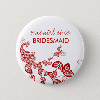 Oriental Chic Red Floral Peacock Wedding Name Tag 6 Cm Round Badge