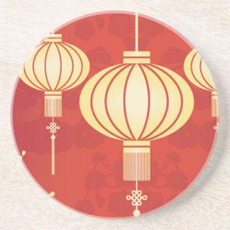 Oriental Chinese Lantern Illustration Beverage Coasters