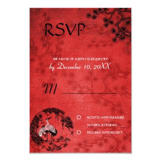 Oriental Cranes wedding  RSVP invitation refwi3