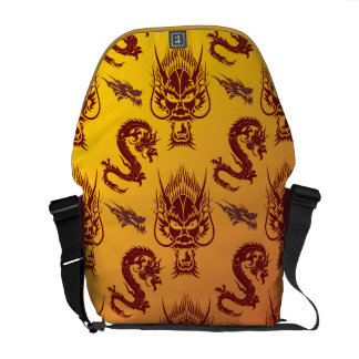 Oriental Dragons Creatures Pattern Maroon Gold Commuter Bags
