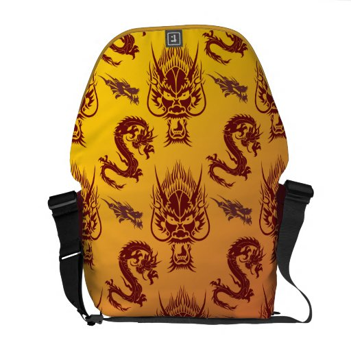 Oriental Dragons Creatures Pattern Maroon Gold Courier Bags
