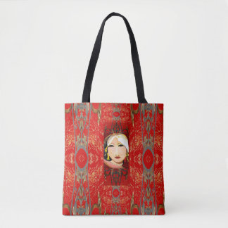 Oriental Flair Fashion Tote Bag-Red/Gold/Gray Tote Bag