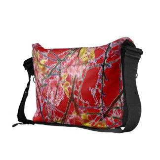 Oriental floral design vibrant red pink green commuter bags