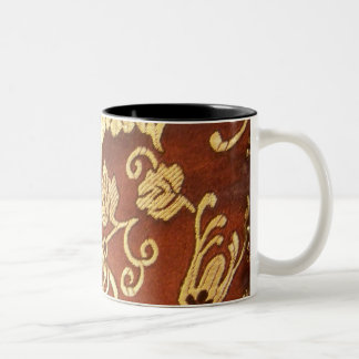 Oriental Floral Fabric Print Postage Stamp Two-Tone Mug