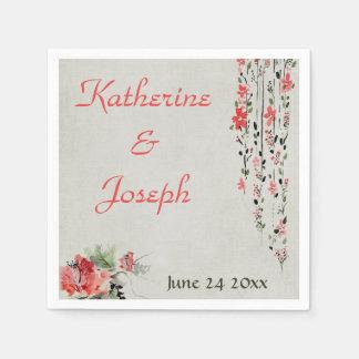 Oriental floral watercolor wedding reception disposable napkin