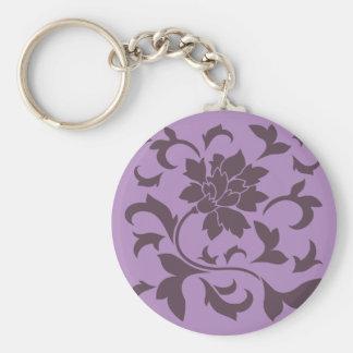 Oriental Flower - Cherry Chocolate & Lilac Basic Round Button Key Ring