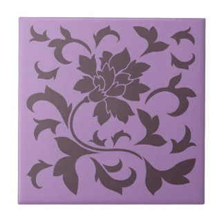 Oriental Flower - Cherry Chocolate & Lilac Ceramic Tile