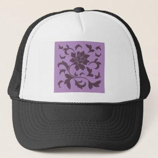 Oriental Flower - Cherry Chocolate & Lilac Trucker Hat