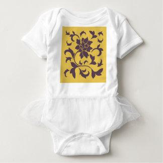 Oriental Flower - Cherry Chocolate & Mustard Baby Bodysuit