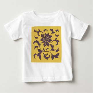 Oriental Flower - Cherry Chocolate & Mustard Baby T-Shirt