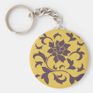 Oriental Flower - Cherry Chocolate & Mustard Basic Round Button Key Ring