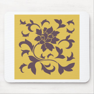 Oriental Flower - Cherry Chocolate & Mustard Mouse Pad
