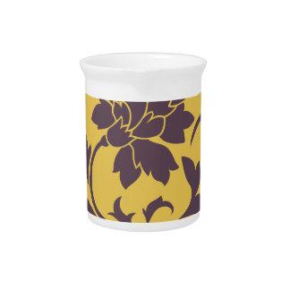 Oriental Flower - Cherry Chocolate & Mustard Pitcher