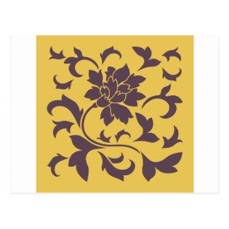 Oriental Flower - Cherry Chocolate & Mustard Postcard