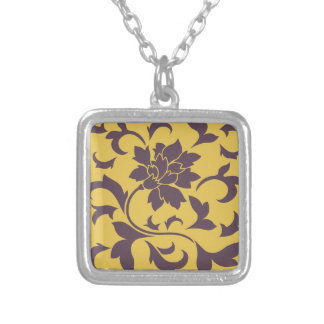 Oriental Flower - Cherry Chocolate & Mustard Silver Plated Necklace