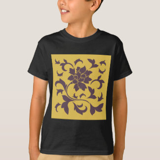 Oriental Flower - Cherry Chocolate & Mustard T-Shirt