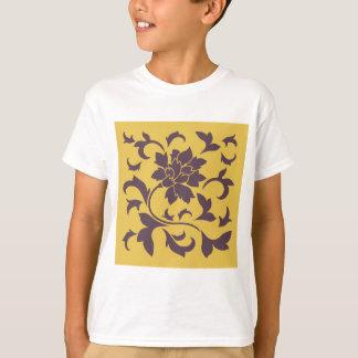 Oriental Flower - Cherry Chocolate & Mustard T-Shirt