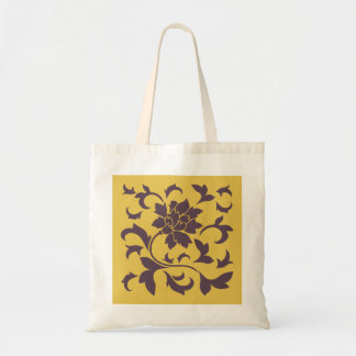 Oriental Flower - Cherry Chocolate & Mustard Tote Bag