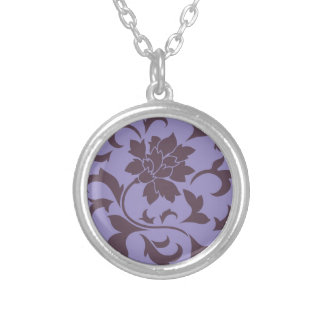Oriental Flower - Cherry Chocolate & Violet Tulip Silver Plated Necklace