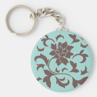 Oriental Flower - Chocolate Limpet Shell Basic Round Button Key Ring