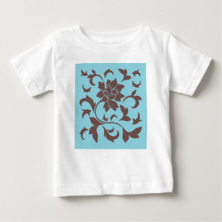 Oriental Flower - Chocolate & Pastel Blue Baby T-Shirt