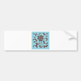 Oriental Flower - Chocolate & Pastel Blue Bumper Sticker