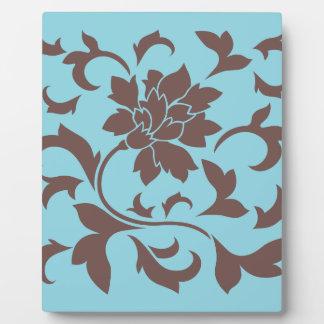 Oriental Flower - Chocolate & Pastel Blue Plaque