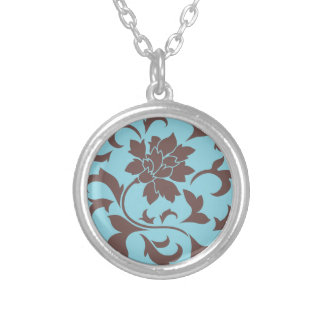 Oriental Flower - Chocolate & Pastel Blue Silver Plated Necklace