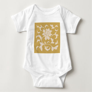 Oriental Flower - Coffee Latte & Spicy Mustard Baby Bodysuit