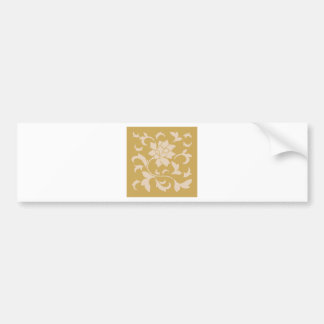 Oriental Flower - Coffee Latte & Spicy Mustard Bumper Sticker