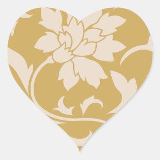 Oriental Flower - Coffee Latte & Spicy Mustard Heart Sticker