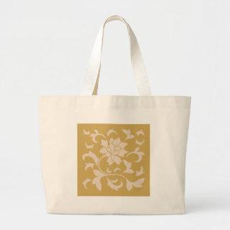 Oriental Flower - Coffee Latte & Spicy Mustard Large Tote Bag