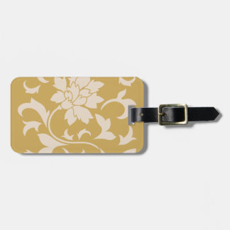 Oriental Flower - Coffee Latte & Spicy Mustard Luggage Tag