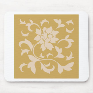 Oriental Flower - Coffee Latte & Spicy Mustard Mouse Pad