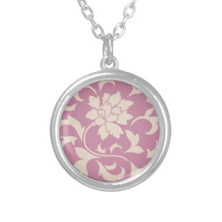 Oriental Flower - Coffee Latte & Strawberry Silver Plated Necklace