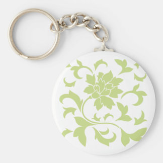 Oriental Flower - Daiquiri Green Basic Round Button Key Ring
