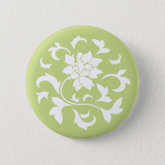 Oriental Flower - Daiquiri Green Circular Pattern 6 Cm Round Badge