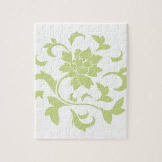 Oriental Flower - Daiquiri Green Circular Pattern Jigsaw Puzzle