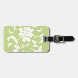 Oriental Flower - Daiquiri Green Circular Pattern Luggage Tag